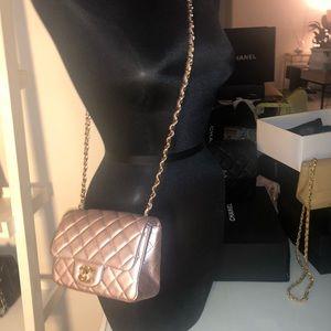 8603b4e5b48e CHANEL Iridescent Pink Lambskin Square Mini